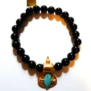 CHAN LUU OBSIDIAN AND GOLD AND TURQUOISE BRACELET